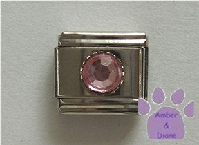 Round Crystal Birthstone Italian Charm Tourmaline-Pink for October