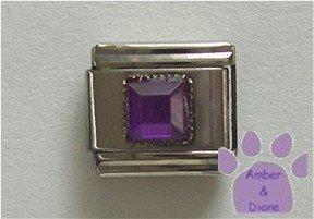 Square Crystal Birthstone Italian Charm Amethyst-Purple for February