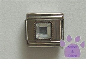 Square Crystal Birthstone Italian Charm Diamond-Clear for April