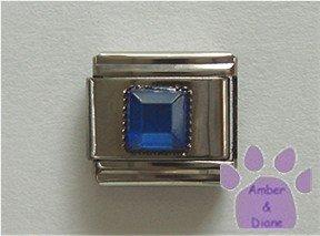 Square Crystal Birthstone Italian Charm Sapphire-Blue for September