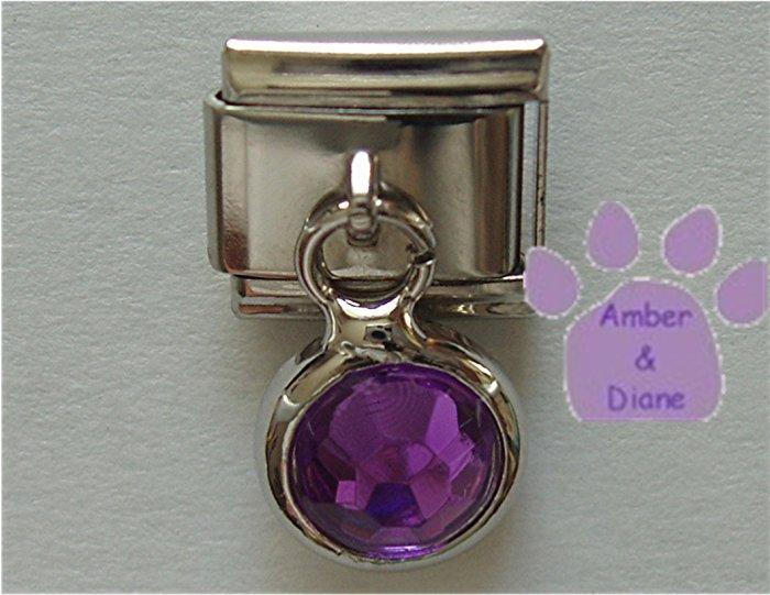 Round Dangle Amethyst Crystal Birthstone Italian Charm February