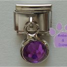 Round Dangle Amethyst Crystal Birthstone Italian Charm February