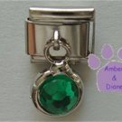 Round Dangle Emerald Crystal Birthstone Italian Charm for May