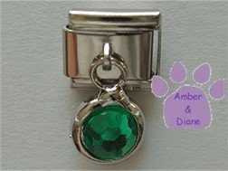 Round Dangle Emerald Crystal Birthstone Italian Charm for May