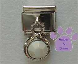 Round Dangle Pearl Crystal Birthstone Italian Charm for June