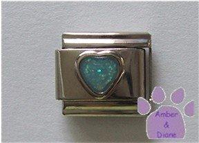 Glitter Heart Birthstone Italian Charm Aquamarine-blue for March