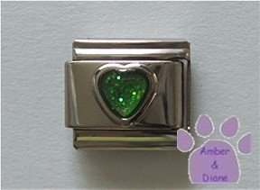 Glitter Heart Birthstone Italian Charm Emerald-Green for May