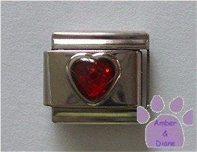 Glitter Heart Birthstone Italian Charm Garnet-Red for January