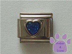 Glitter Heart Birthstone Italian Charm Sapphire-Blue for September