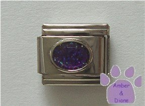 Glitter Oval Birthstone Italian Charm Amethyst-Purple for February