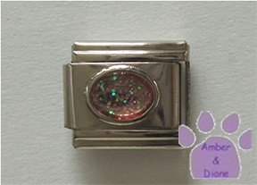 Glitter Oval Birthstone Italian Charm Opal-Pink for October