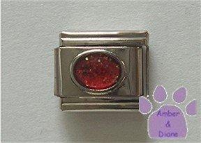 Glitter Oval Birthstone Italian Charm Ruby-Red for July