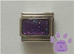 Glitter Rectangle Birthstone Italian Charm Amethyst-Purple February