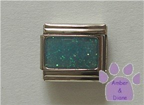 Glitter Rectangle Birthstone Italian Charm Aquamarine-blue March