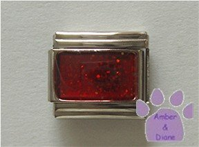 Glitter Rectangle Birthstone Italian Charm Garnet-Red for January