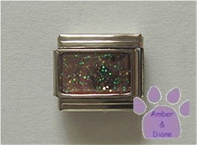 Glitter Rectangle Birthstone Italian Charm Opal-Pink for October