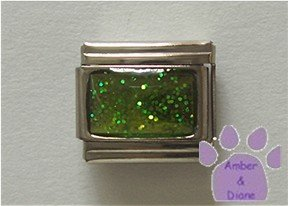 Glitter Rectangle Birthstone Italian Charm Peridot-Green for August