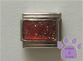 Glitter Rectangle Birthstone Italian Charm Ruby-Red for July