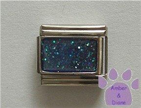 Glitter Rectangle Birthstone Italian Charm Zircon-Blue for December
