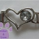 Birthstone Heart Italian Charm Connector Diamond-Clear for April