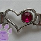 Birthstone Heart Italian Charm Connector Garnet-Red for January