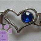 Birthstone Heart Italian Charm Connector Sapphire-Blue September
