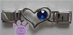 Birthstone Heart Italian Charm Connector Sapphire-Blue September