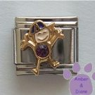 Boy February Birthstone Italian Charm with Amethyst Crystal