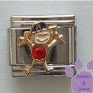 Boy July Birthstone Italian Charm with Ruby Crystal