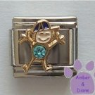 Boy March Birthstone Italian Charm with Aquamarine Crystal