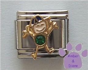 Boy May Birthstone Italian Charm with Emerald Crystal