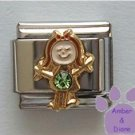 Girl August Birthstone Italian Charm with Peridot Crystal
