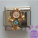 Girl March Birthstone Italian Charm with Aquamarine Crystal