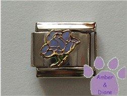 Open Rose Birthstone Italian Charm Alexandrite-Purple for June