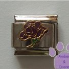 Open Rose Birthstone Italian Charm Amethyst-Purple for February