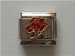 Open Rose Birthstone Italian Charm Garnet-Red for January
