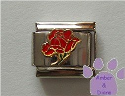 Open Rose Birthstone Italian Charm Ruby-Red for July