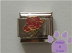 Open Rose Birthstone Italian Charm Tourmaline-Pink for October