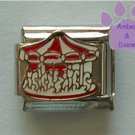 Red and White Carousel Italian Charm with white horses
