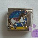 White Carousel Horse Italian Charm blue glitter black mane tail