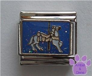 White Carousel Horse Italian Charm on blue glitter background