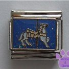 White Carousel Horse Italian Charm on blue glitter background