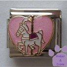 White Carousel Horse Italian Charm on pink glitter heart