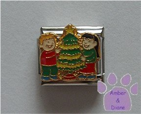 Boy and Girl Decorating a Christmas Tree Italian Charm
