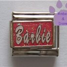 Barbie Italian Charm on pink glitter enamel background