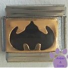 Black Bat Signal on Gold Background Batman Italian Charm