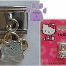 Hello Kitty Dangle Italian Charm Kitty blue outline - flower