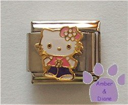 Hello Kitty in a Pink Shirt and Purple Pants Italian Charm