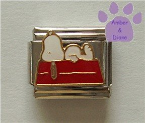 Snoopy Italian Charm Laying on the Roof of his Dog House