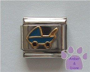 Blue Baby Carriage Italian Charm